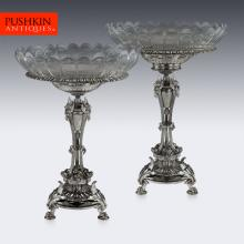 ANTIQUE 19thC FRENCH CHRISTOFLE SILVER PLATED PAIR OF COMPORTS, PARIS c.1880