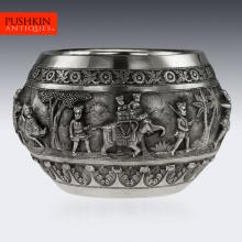 ANTIQUE 19thC INDIAN SOLID SILVER LARGE REPOUSSE' HUNTING BOWL, LUCKNOW c.1890