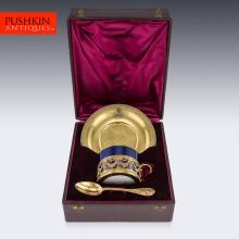 ANTIQUE 19thC FRENCH ODIOT SOLID SILVER-GILT TEA CUP SET, PARIS c.1860