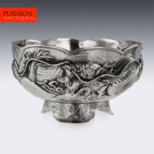 ANTIQUE 19thC JAPANESE MEIJI PERIOD SOLID SILVER DRAGON BOWL c.1890