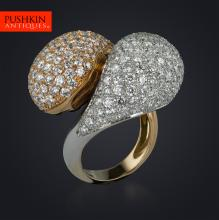 STYLISH DOUBLE DOMED DIAMONDS, TWO COLOUR GOLD RING, SIZE M 1/2