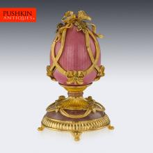 STUNNING HOUSE OF FABERGE GOLD PLATED SOLID SILVER ROSE BOUQUET EGG