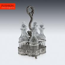 ANTIQUE 19thC CHINESE EXPORT SOLID SILVER CRUET STAND, HOACHING c.1860