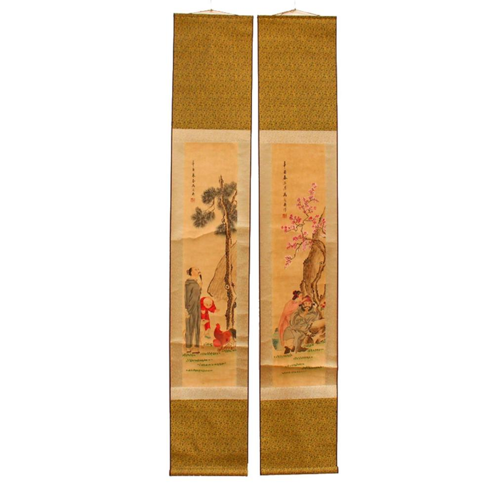 A Set Chinese Watercolor On Xuan Paper Figures Paintings