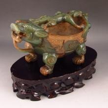 Vintage Hand Carved Chinese Natural Hetian Jade Incense Burner Statue w Fortune Beast