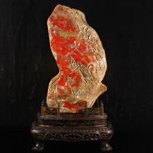 Superb Hand-carved Chinese Natural Bloodstone Stone Statue w Flower