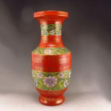 Superb Hand-painted Chinese Gilted Red Ground Famille Rose Porcelain Vase w Yongzheng Mark