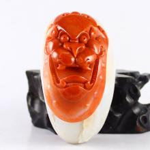 Beautiful Color Hand Carved Chinese Natural Nan Hong Agate Pendant w Dragon Head