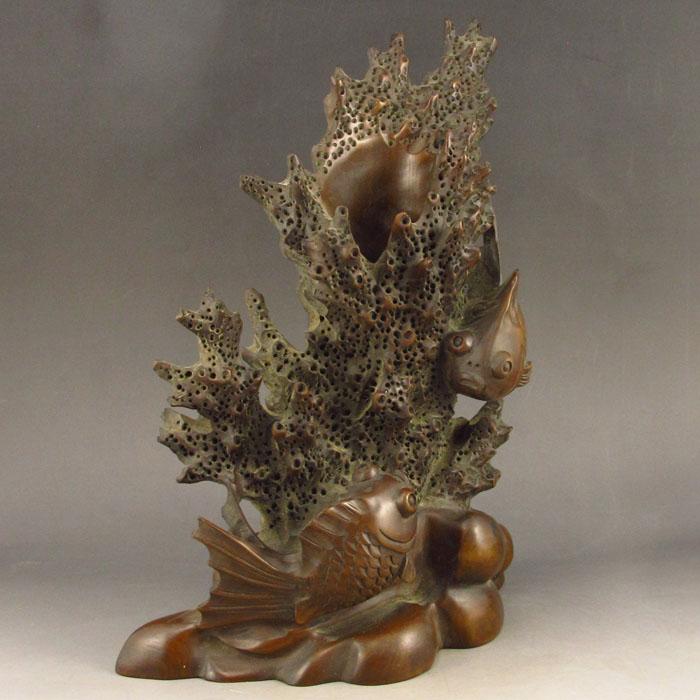 Hand carved chinese boxwood brush pot statue underwater wo