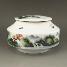 Hand-painted Beautiful Scenery Chinese Su Color Porcelain Tea Caddy Marked