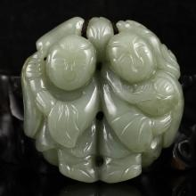 Hand Carved Chinese Natural Hetian Jade Pendant - Fortune Kids