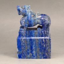 Chinese Natural Lapis Lazuli Seal Statue w Pi Xiu Dragon