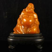 Hand Carved Chinese Shoushan Stone Statue - Laughing Buddha