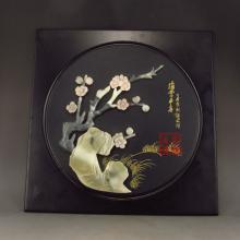 Handmade Chinese Hard Wood Inlay Natural Jade Mural w Plum Blossom