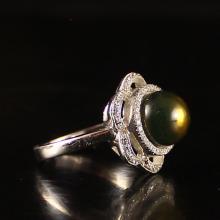 Sterling Silver Inlay Natural Amber Ring