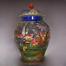 Hand-carved Chinese Qing Dynasty High Relief Famille Rose Porcelain Mountains Waters Character Big Jar