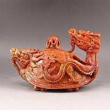 Hand Carved Chinese Natural Shoushan Stone Dragon Turtle Teapot