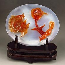 Beautiful Color Chinese Natural Agate Plate Carved Fish & Lotus Root