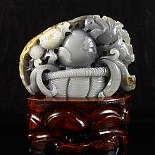 Superb Hand Carved Chinese Natural Hetian Jade Flower Basket Statue