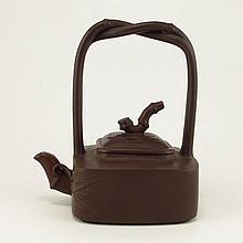 Chinese Yixing Zisha Handle Teapot With Bamboo Motif