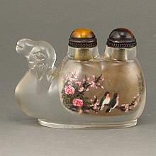 Superb Hand-painted Chinese Beijing / Peking Glass Inside Painting Camel Shape Snuff Bottle