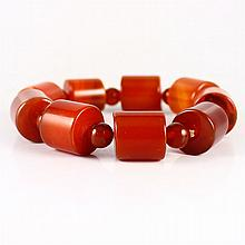 Beautiful Color Hand Carved Natural Brazil Red Agate Bracelet