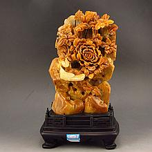 Superb Hand Carved Chinese Natural Shoushan Stone Statue - Magpie & Peony
