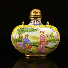 Chinese Qing Dynasty Gilt Gold Red Copper Enamels Snuff Bottle