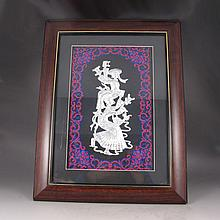 Handmade Chinese Genuine Silver Embroidery Mural w Dance Girls
