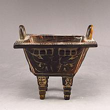 Vintage Hand Carved Chinese Ox Horn Incense Burner / 4 Leg Ding