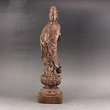 Hand Carved Chinese Natural Aloewood Wood Statue - Kwan-yin