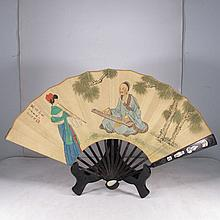 Chinese Hand Draw Painting Fan w Music Girl & Music Old Man