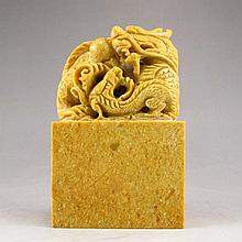 Hand Carved Chinese Natural Shoushan Stone Seal w Dragon & Fire Ball