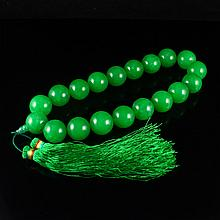 Hand Carved Malaysia Natural Color Green Jade Buddhist Prayer Beads