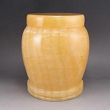 Hand Carved Chinese Natural Jade Tea Leaf Pot