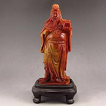 Beautiful Color Hand Carved Chinese Shoushan Stone Statue - Literature Guan Gong