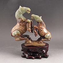Vintage Hand Carved Chinese Natural Hetian Jade Statue - Horses