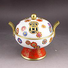 Hand-painted Chinese Gold-plating Famille Rose Porcelain Incense Burner w Yong Zheng Mark