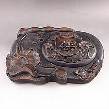 Superb Hand Carved Chinese Chenni Inkstone w Frog Tadpoles & Lotus Flower