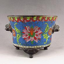 Handmade Chinese Cloisonne Bronze Incense Burner Jing Tai Mark