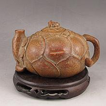 Hand Carved Chinese Bamboo Lotus Flower Teapot