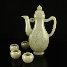 A Set Chinese Qing Dynasty Hetian Jade Wine Pot & Cups