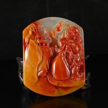 Chinese Huang Long Jade Laughing Buddha Pendant