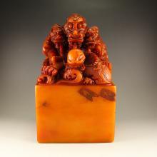 Chinese Shoushan Stone Seal w Dragon & Ball