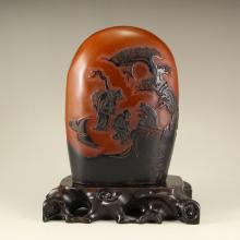 Chinese Shoushan Stone Seal w Sages Meeting