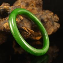 Inside Diameter 58 mm Chinese Green Hetian Jade Bracelet w Certificate