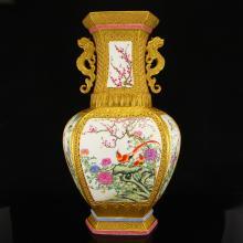 Superb Chinese Gilt Gold Famille Rose Double Ears Porcelain Big Vase w Qian Long Mark