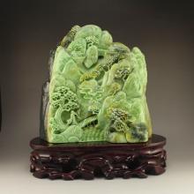 Chinese Dushan Jade Statue - Sage & Pine Tree