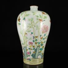 Chinese Qing Dynasty Gilt Edges Famille Rose Porcelain Vase w Yong Zheng Mark