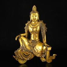 Chinese Ming Dynasty Gilt Gold Bronze Bodhisattva Statue